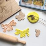 eco-molde abejas, proyecto infantil abejas, claustro infantil, material educativo, aprender jugando, madera , puzzle, encajables , personalizado.